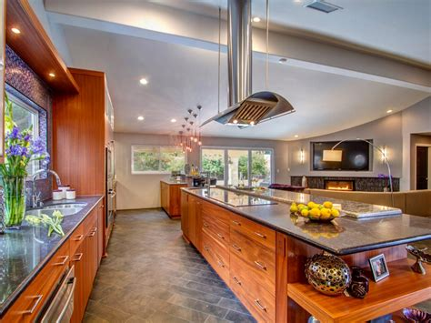 open floor plan kitchen with long island Traditional