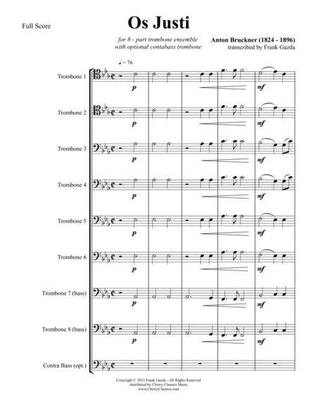 os justi for 8 part trombone ensemble music sheet