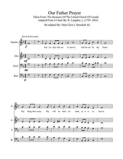 Our Father The Lord Prayer  music sheet