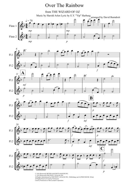 Over The Rainbow From The Wizard Of Oz Arranged For Flute Duet  music sheet