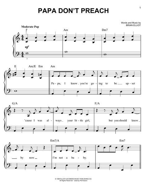 Papa Dont Preach  music sheet