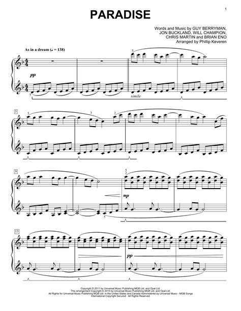 Paradise Coldplay  music sheet