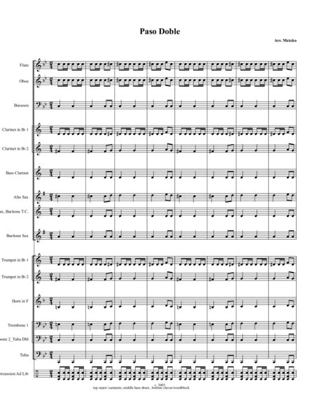 Paso Doble For Concert Band  music sheet