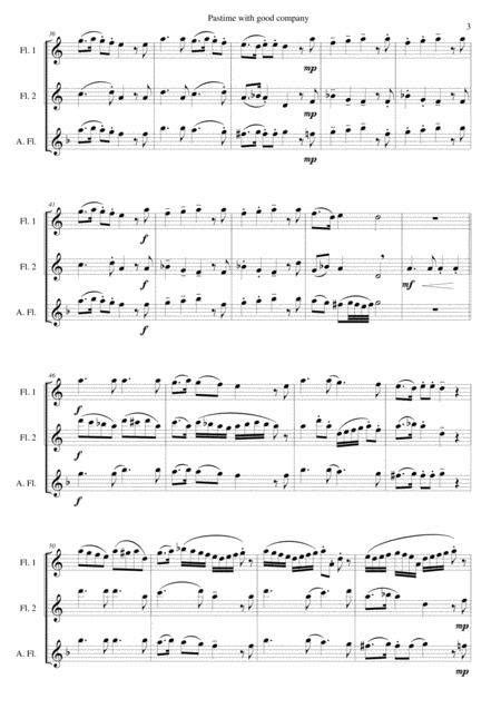 Pastime With Good Company For Flute Trio 2 Flutes And Alto Flute Mp3  music sheet