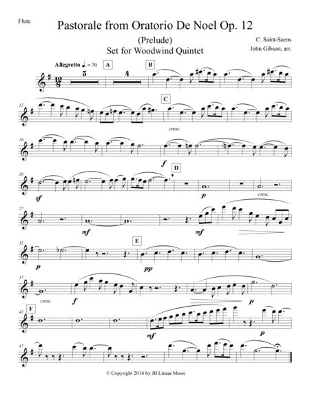 Pastorale From Oratorio De Noel Set For Woodwind Quintet  music sheet