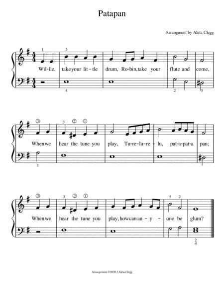 Patapan For Early Beginner  music sheet