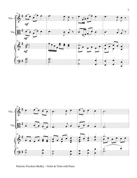 Patriotic Freedom Medley Violin And Viola With Piano Score And Parts music sheet