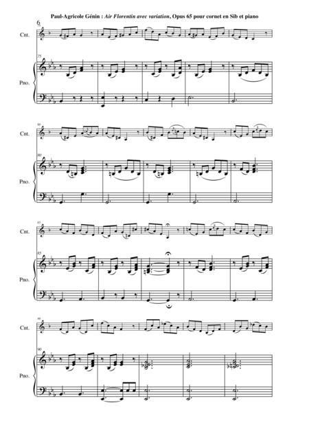 Paul Agricole Gnin Air Florentin Avec Variation Opus 65 For Bb Cornet And Piano  music sheet