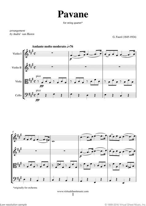 Pavane For String Quartet  music sheet