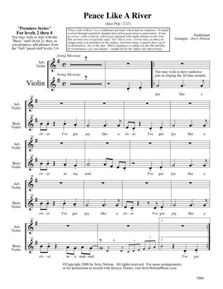 Peace Like A River Arrangements Level 2 4 For Violin Written Acc Hymns  music sheet