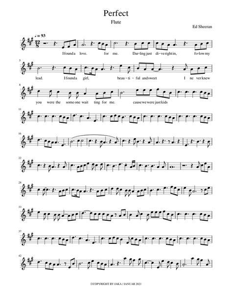 Perfect Ed Sheeran Flute Solo Transcription Original Key  music sheet