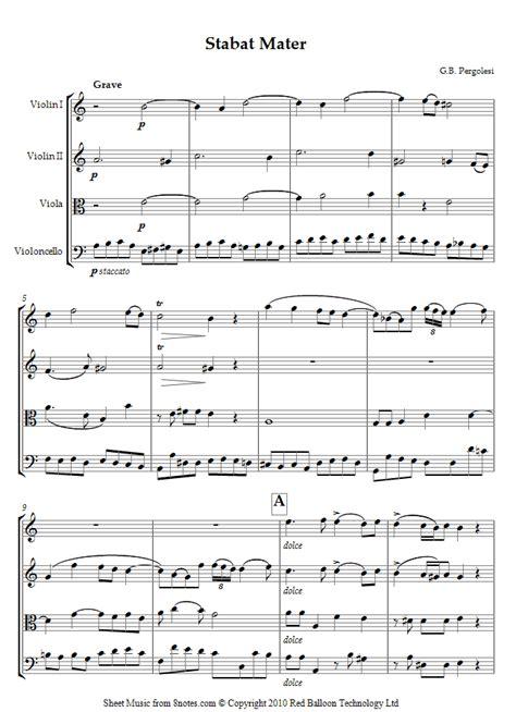 Pergolesi Stabat Mater Dolorosa From Stabat Mater For Cello Quartet  music sheet