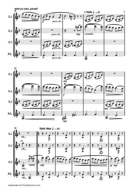 perpetuum mobile for clarinet quartet music sheet