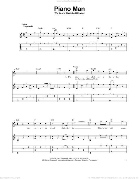 Piano Man For Guitar And Piano  music sheet