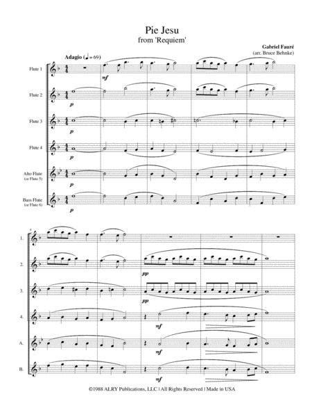 Pie Jesu For Flute Choir  music sheet