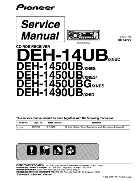 free download ebooks Pioneer Deh 14ub Manual.pdf