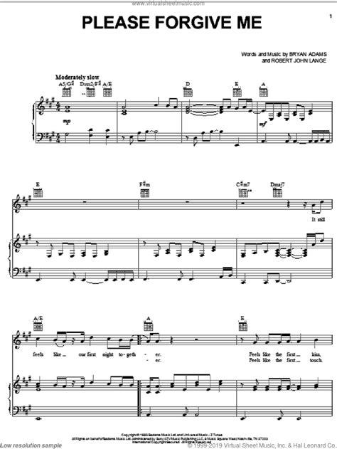 Please Forgive Me Intermediate Bryan Adams  music sheet