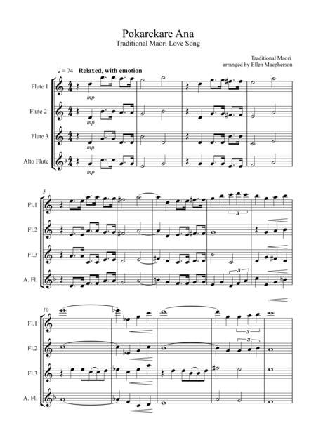 Pokarekare Ana For Flute Quartet 3 Concert Flutes 1 Alto Flute  music sheet
