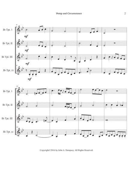 Pomp And Circumstance Brass Quartet For Trumpet  music sheet