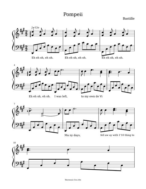 Pompeii By Bastille For Alto Saxophone Piano  music sheet