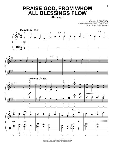 Praise God From Whom All Blessings Flow Three Violins And Cello  music sheet