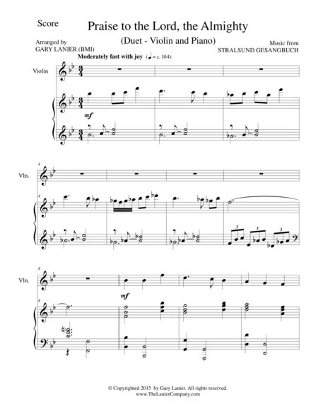 Praise To The Lord The Almighty Duet Viola And Piano Score And Parts  music sheet