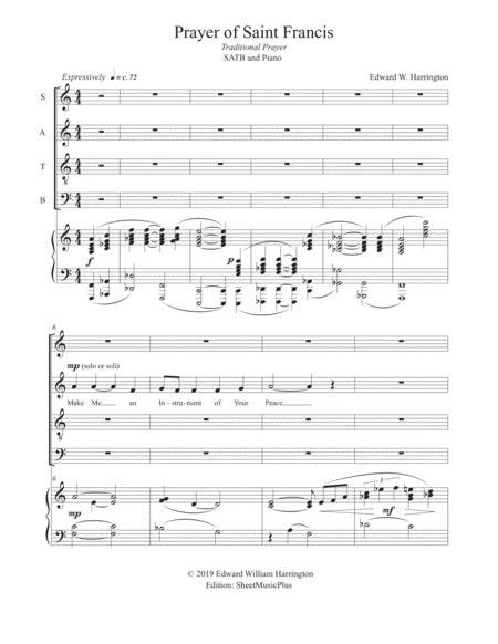 Prayer Of Saint Francis Satb Piano  music sheet