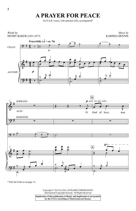 Prayers For Peace  music sheet