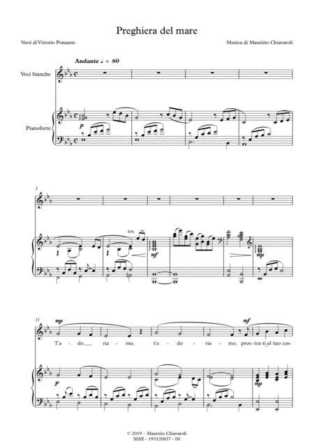Preghiera Del Mare  music sheet