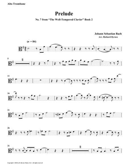 Prelude 07 From Well Tempered Clavier Book 2 Trombone Quintet  music sheet