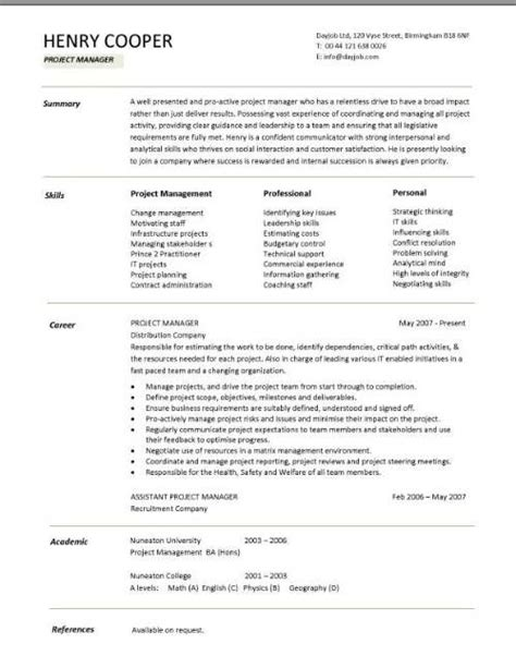 project manager resume CV Dayjob