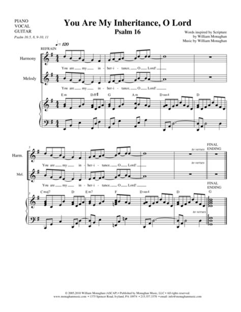 Psalm 16 You Are My Inheritance O Lord  music sheet