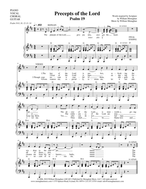 Psalm 19 The Precepts Of The Lord  music sheet