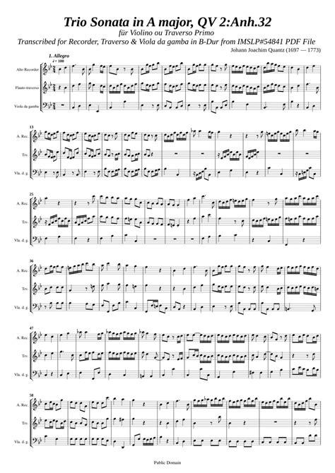 Quantz Trio Sonata In A Major Qv 2 Anh 32  music sheet