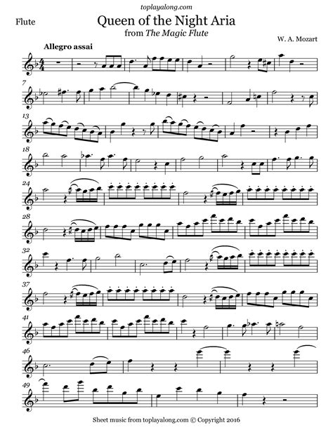 Queen Of The Night Magic Flute Easy Violin Sheet Music  music sheet