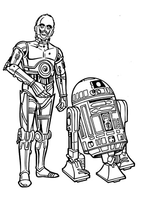 r2d2 and c3po coloring page Free Printable Coloring Pages