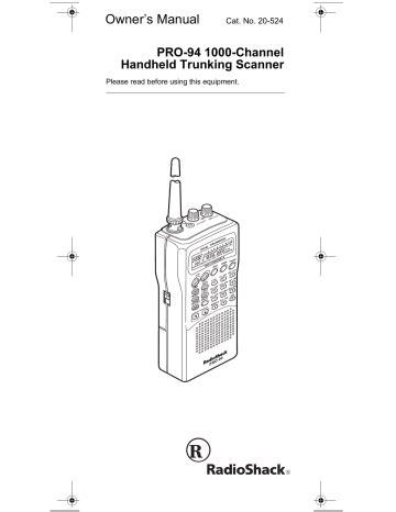 free download ebooks Radio Shack Pro 94 User Manual.pdf