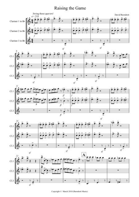 Raising The Game Jazzy Style For Clarinet Trio  music sheet
