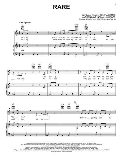 Rare Selena Gomez Sheet Music Easy Piano  music sheet