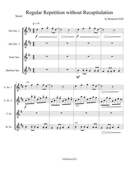 Regular Repetition Without Recapitulation  music sheet