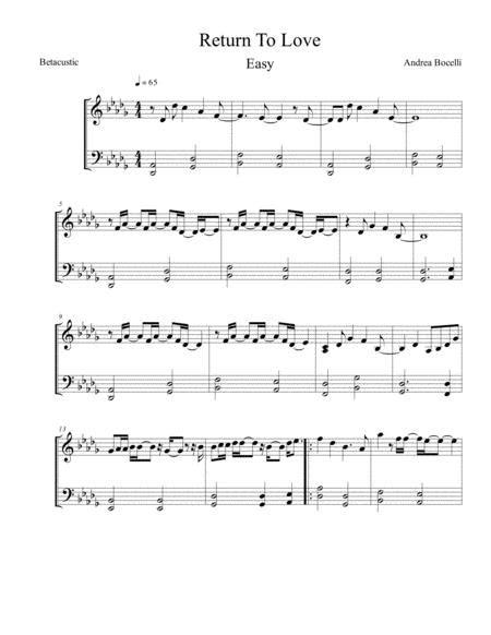 return to love andrea bocelli matteo curallo sheet music easy piano music sheet