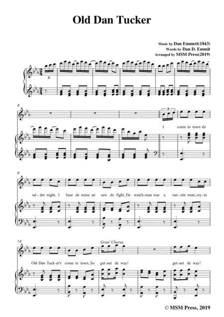 Rice Old Dan Tucker In C Major For Voice And Piano  music sheet