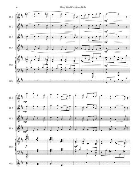 Ring Glad Christmas Bells For Flute Quartet And Piano With Optional Glockenspiels Obligato  music sheet
