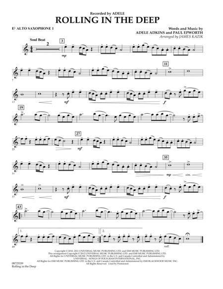 Rolling In The Deep W Lyrics Alto Sax  music sheet