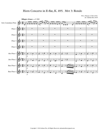 Rondo From Horn Concerto K 495 music sheet
