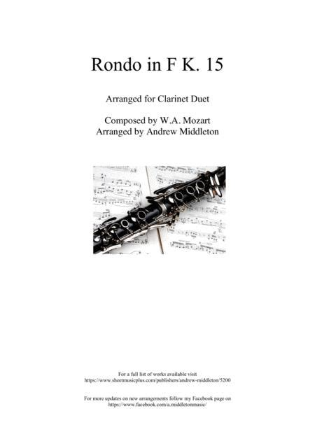 Rondo In F K 15 Arranged For Clarinet Duet  music sheet