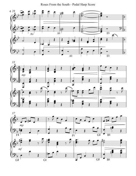 Roses From The South Op 388 Second Waltz Pedal Harp Score Parts  music sheet