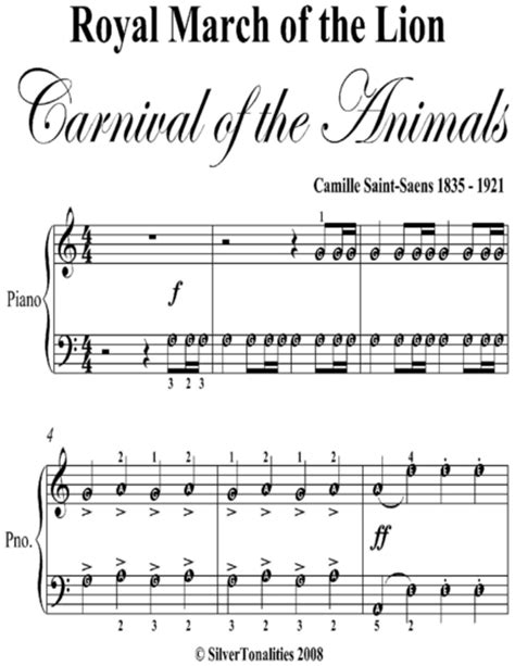 Royal March Of The Lion Carnival Of The Animals Easy Piano Sheet Music music sheet