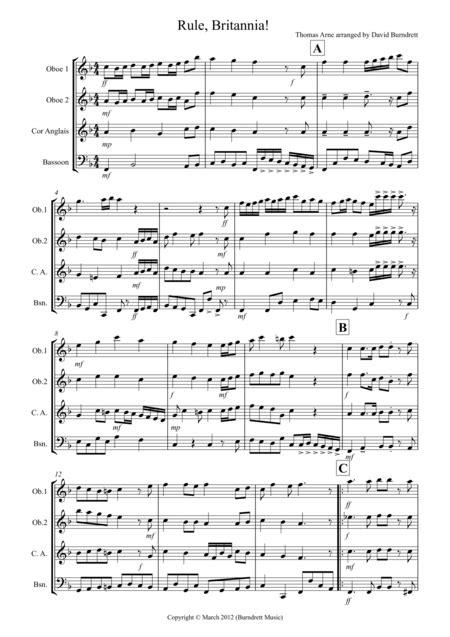 Rule Britannia For Double Reed Quartet  music sheet
