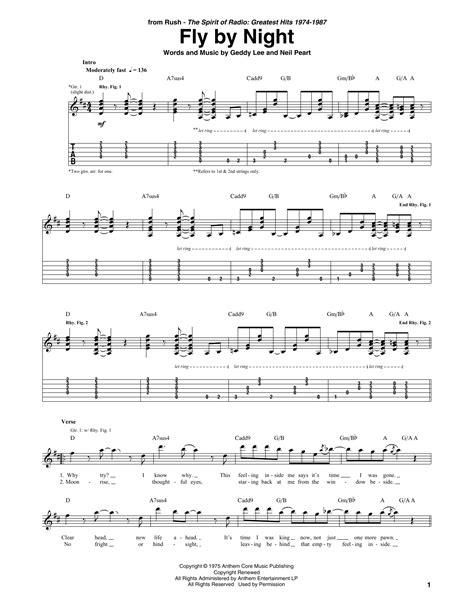 Rush Fly By Night  music sheet